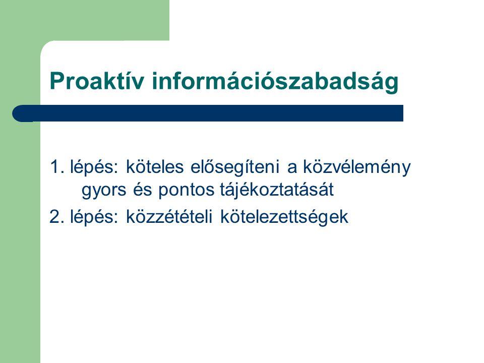 1. lépés: köteles elősegíteni a közvélemény gyors és pontos tájékoztatását 2. lépés: közzétételi kötelezettségek Proaktív információszabadság
