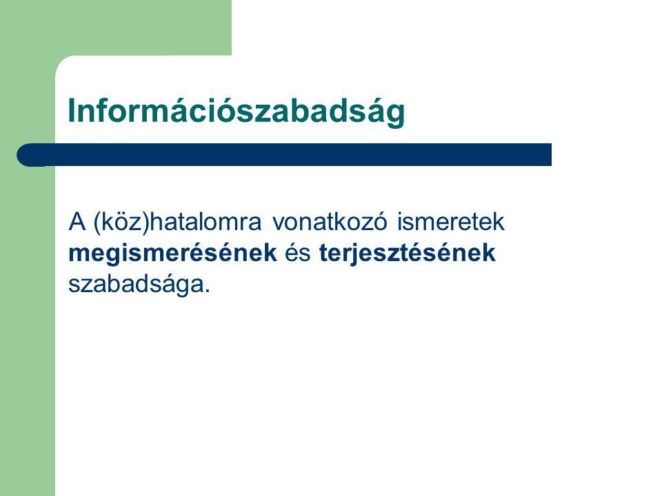 Információszabadság A (köz)hatalomra vonatkozó ismeretek megismerésének és terjesztésének szabadsága.