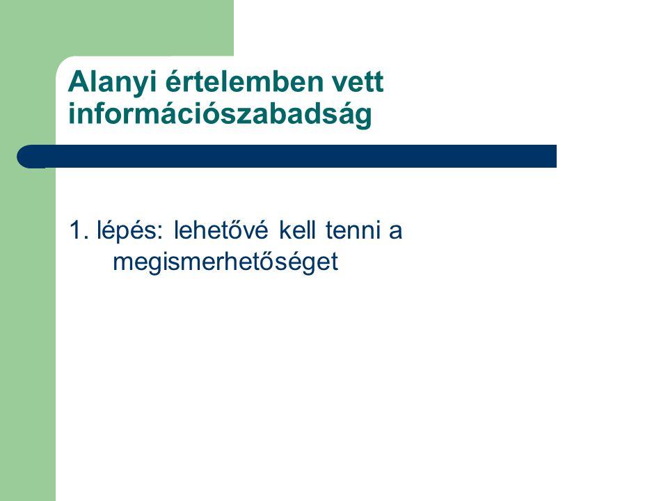 1. lépés: lehetővé kell tenni a megismerhetőséget Alanyi értelemben vett információszabadság