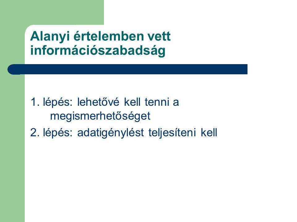 1. lépés: lehetővé kell tenni a megismerhetőséget 2. lépés: adatigénylést teljesíteni kell Alanyi értelemben vett információszabadság