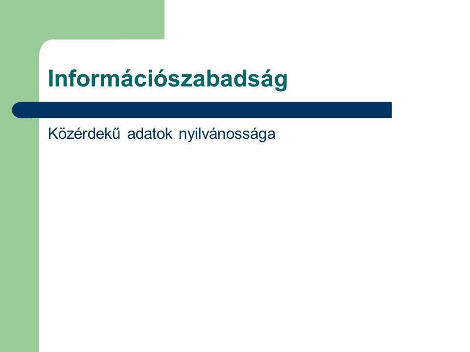 Információszabadság Közérdekű adatok nyilvánossága