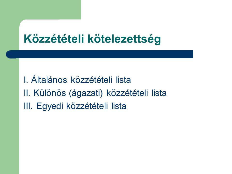 Közzétételi kötelezettség I. Általános közzétételi lista II. Különös (ágazati) közzétételi lista III. Egyedi közzétételi lista