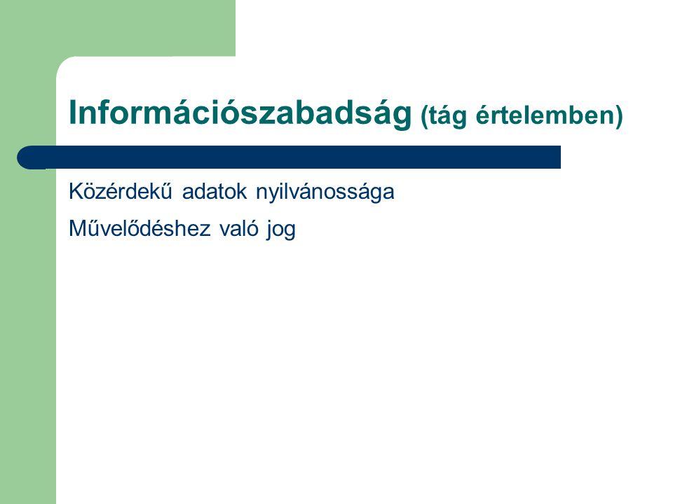 Információszabadság (tág értelemben) Közérdekű adatok nyilvánossága Művelődéshez való jog