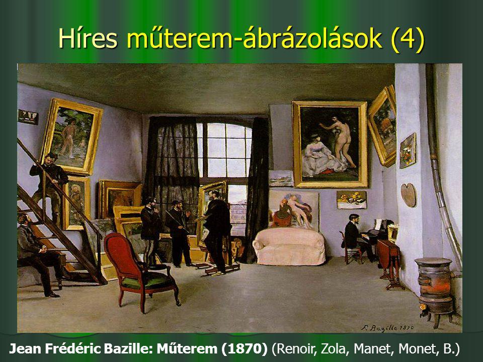 Híres műterem-ábrázolások (4) Jean Frédéric Bazille: Műterem (1870) (Renoir, Zola, Manet, Monet, B.)