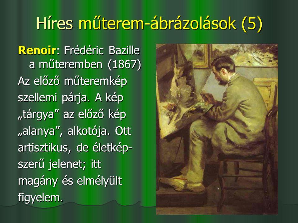 """Híres műterem-ábrázolások (5) Renoir: Frédéric Bazille a műteremben (1867) Az előző műteremkép szellemi párja. A kép """"tárgya"""" az előző kép """"alanya"""", a"""
