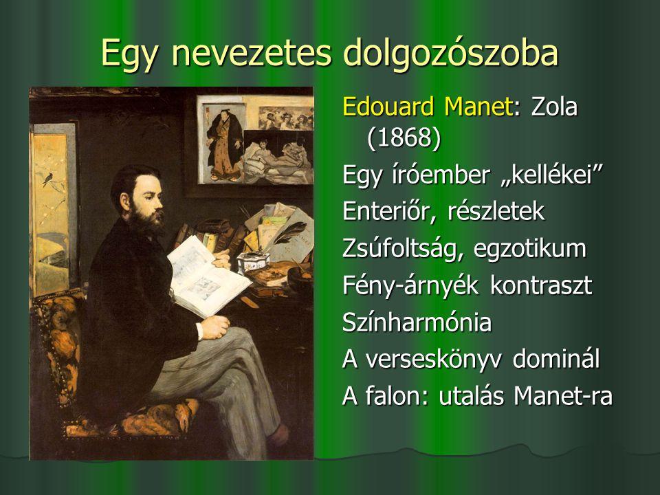 """Egy nevezetes dolgozószoba Edouard Manet: Zola (1868) Egy íróember """"kellékei"""" Enteriőr, részletek Zsúfoltság, egzotikum Fény-árnyék kontraszt Színharm"""