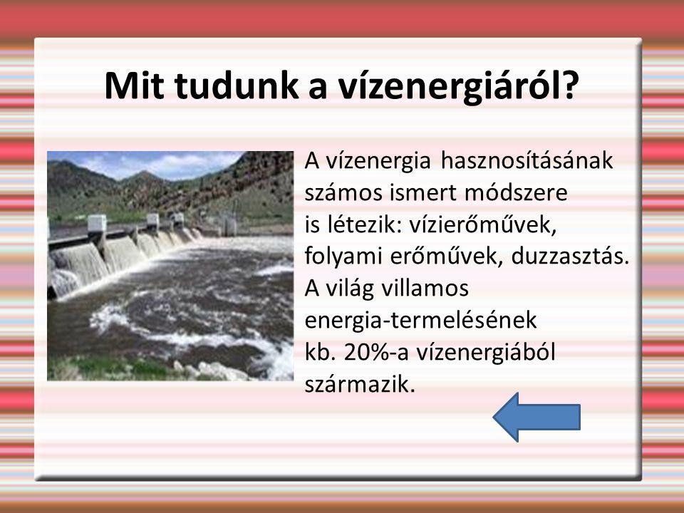 Mit tudunk a vízenergiáról.