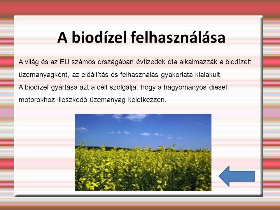 A biodízel felhasználása A világ és az EU számos országában évtizedek óta alkalmazzák a biodízelt üzemanyagként, az előállítás és felhasználás gyakorlata kialakult.