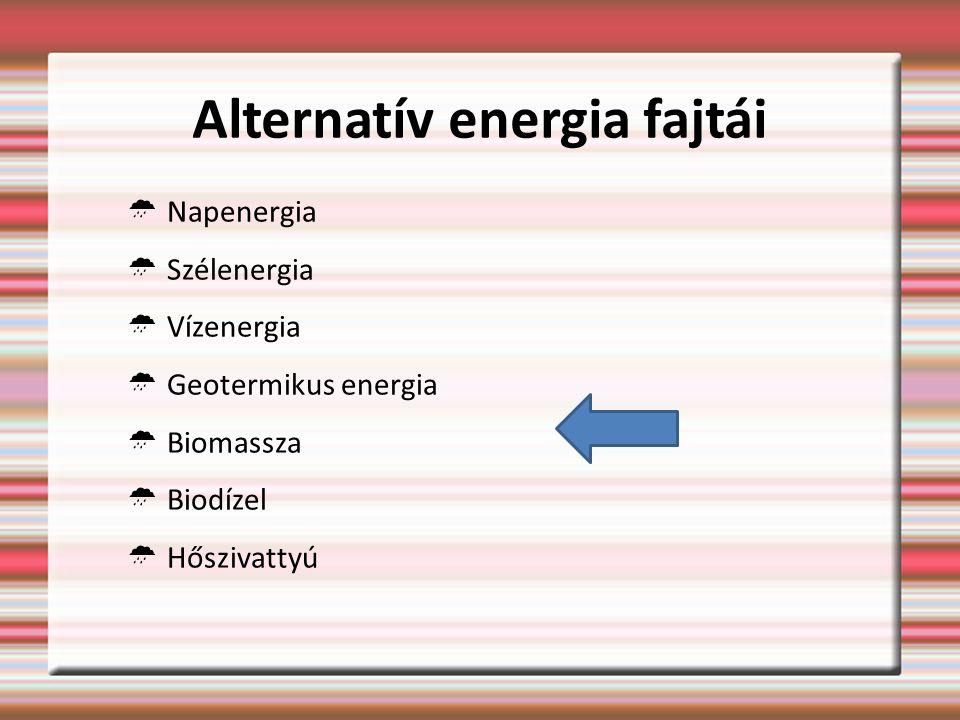 Alternatív energia fajtái  Napenergia  Szélenergia  Vízenergia  Geotermikus energia  Biomassza  Biodízel  Hőszivattyú