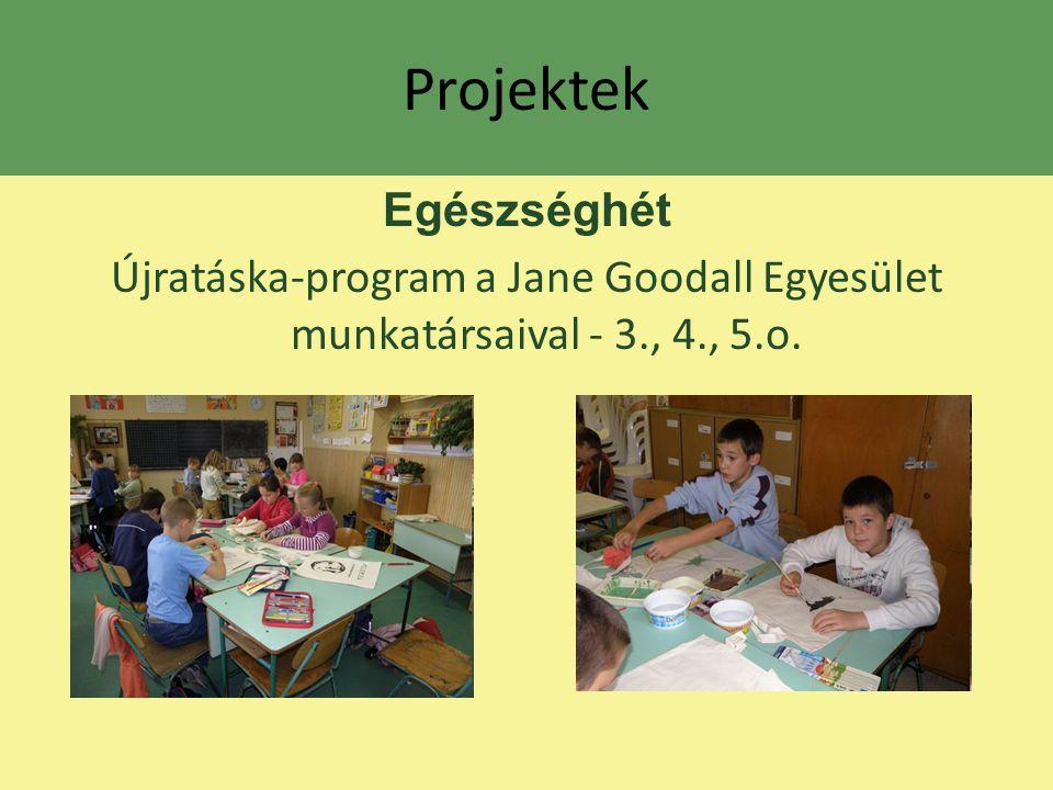 Projektek Egészséghét Újratáska-program a Jane Goodall Egyesület munkatársaival - 3., 4., 5.o.