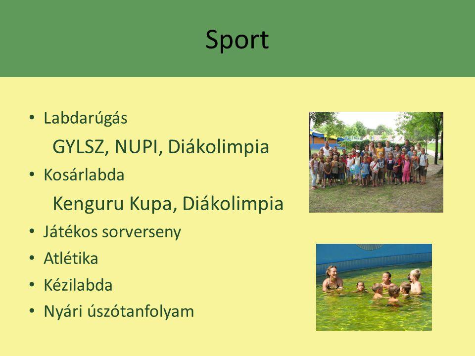 Sport Labdarúgás GYLSZ, NUPI, Diákolimpia Kosárlabda Kenguru Kupa, Diákolimpia Játékos sorverseny Atlétika Kézilabda Nyári úszótanfolyam