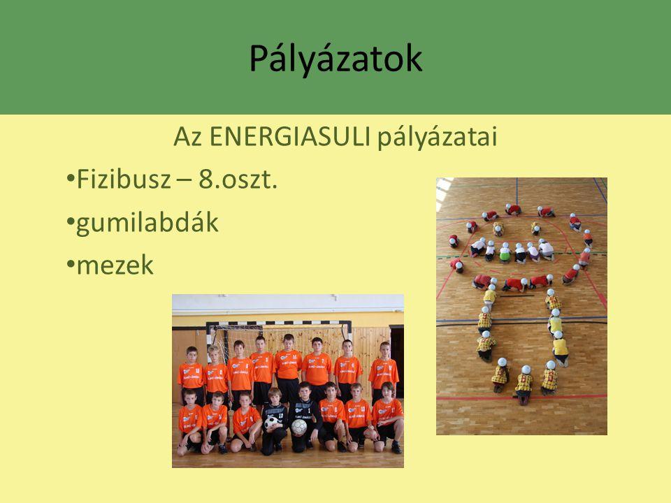 Pályázatok Az ENERGIASULI pályázatai Fizibusz – 8.oszt. gumilabdák mezek