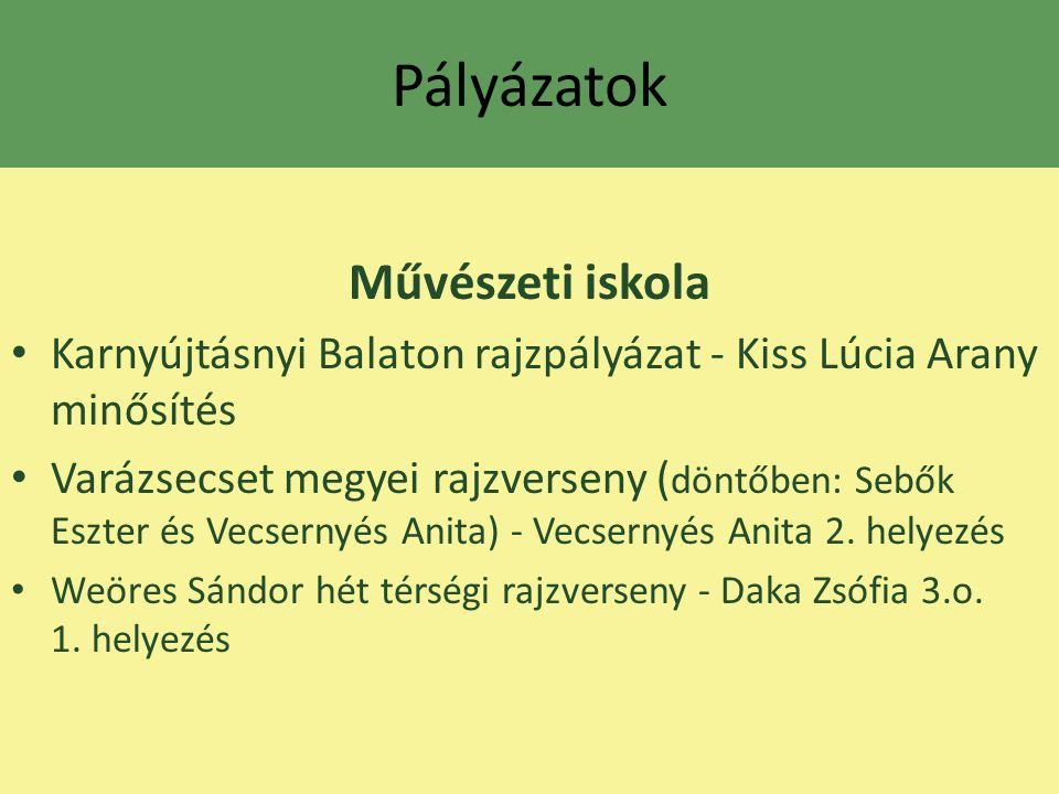 Pályázatok Művészeti iskola Karnyújtásnyi Balaton rajzpályázat - Kiss Lúcia Arany minősítés Varázsecset megyei rajzverseny ( döntőben: Sebők Eszter és
