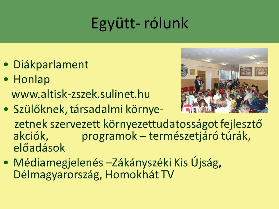 Együtt- rólunk Diákparlament Honlap www.altisk-zszek.sulinet.hu Szülőknek, társadalmi környe- zetnek szervezett környezettudatosságot fejlesztő akciók