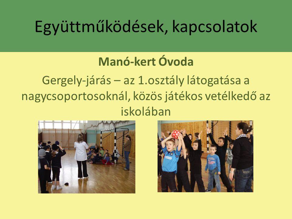 Együttműködések, kapcsolatok Manó-kert Óvoda Gergely-járás – az 1.osztály látogatása a nagycsoportosoknál, közös játékos vetélkedő az iskolában