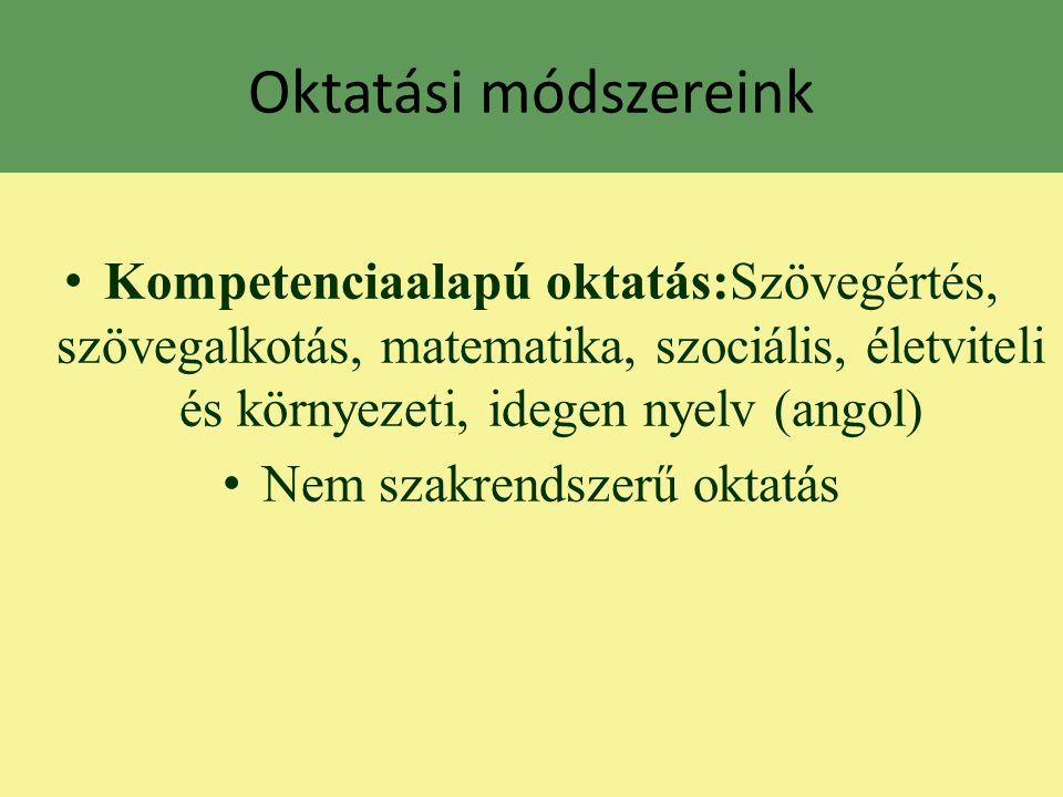Oktatási módszereink Kompetenciaalapú oktatás:Szövegértés, szövegalkotás, matematika, szociális, életviteli és környezeti, idegen nyelv (angol) Nem sz