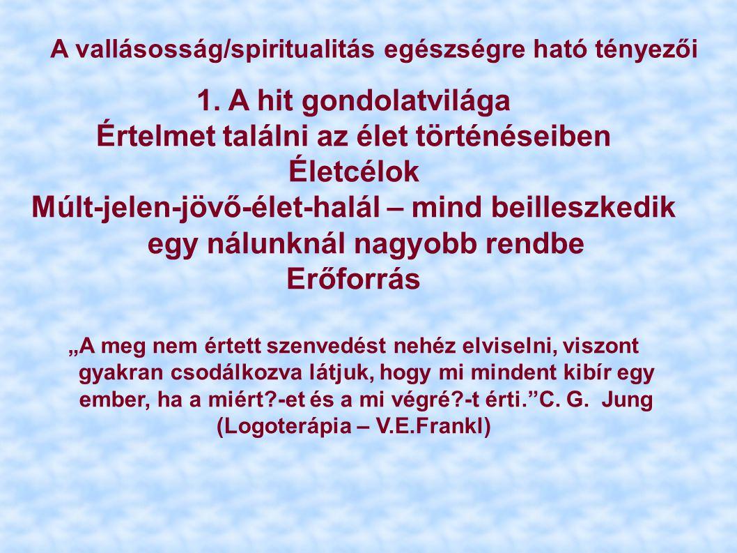 A vallásosság/spiritualitás egészségre ható tényezői 1. A hit gondolatvilága Értelmet találni az élet történéseiben Életcélok Múlt-jelen-jövő-élet-hal