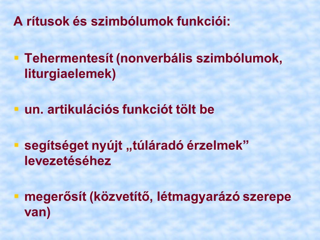"""A rítusok és szimbólumok funkciói:  Tehermentesít (nonverbális szimbólumok, liturgiaelemek)  un. artikulációs funkciót tölt be  segítséget nyújt """"t"""