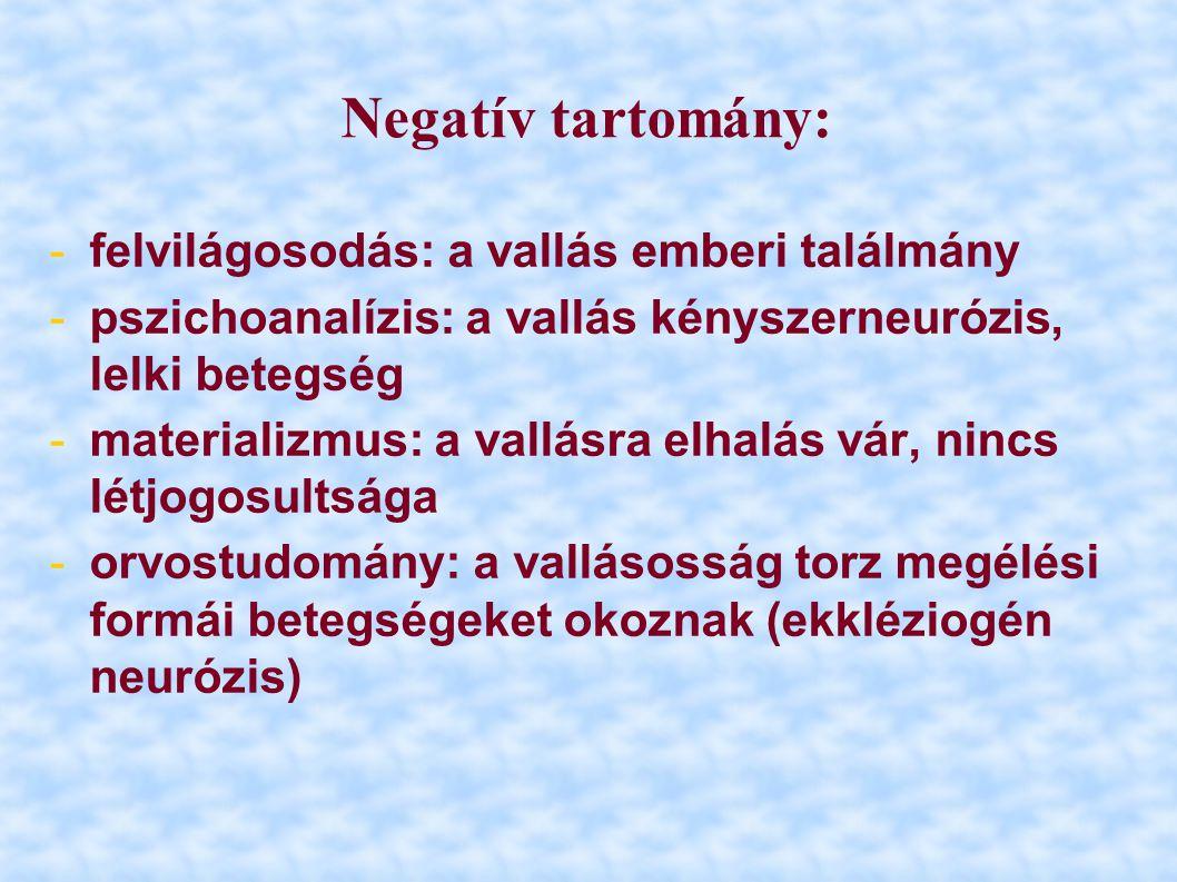 Negatív tartomány: -felvilágosodás: a vallás emberi találmány -pszichoanalízis: a vallás kényszerneurózis, lelki betegség -materializmus: a vallásra e