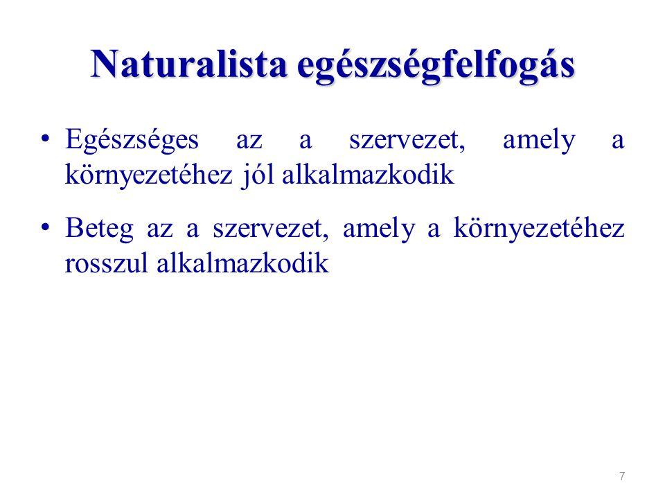 Naturalista egészségfelfogás Egészséges az a szervezet, amely a környezetéhez jól alkalmazkodik Beteg az a szervezet, amely a környezetéhez rosszul al