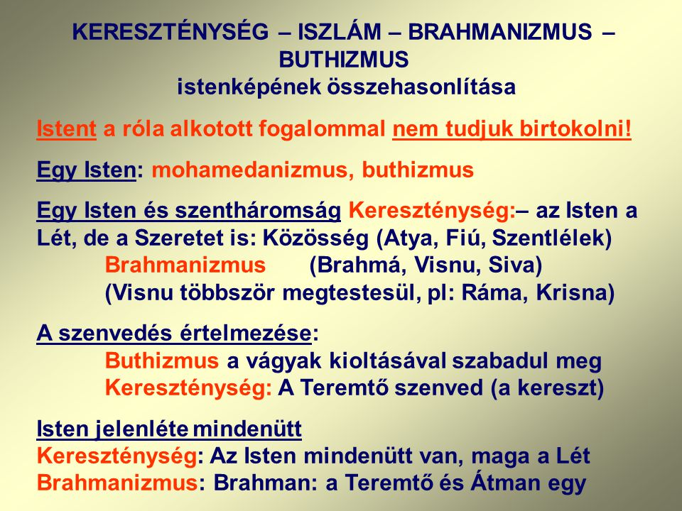 KERESZTÉNYSÉG – ISZLÁM – BRAHMANIZMUS – BUTHIZMUS istenképének összehasonlítása Istent a róla alkotott fogalommal nem tudjuk birtokolni! Egy Isten: mo