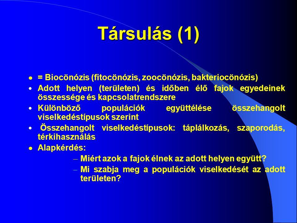 Társulás (1)  = Biocönózis (fitocönózis, zoocönózis, bakteriocönózis)  Adott helyen (területen) és időben élő fajok egyedeinek összessége és kapcsol