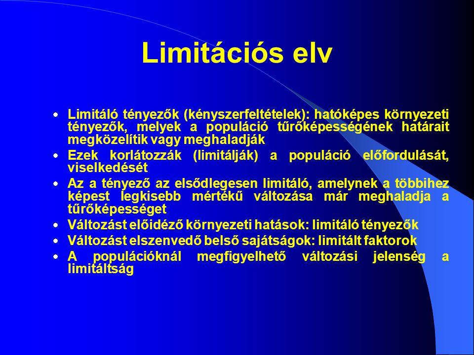 Limitációs elv  Limitáló tényezők (kényszerfeltételek): hatóképes környezeti tényezők, melyek a populáció tűrőképességének határait megközelítik vagy