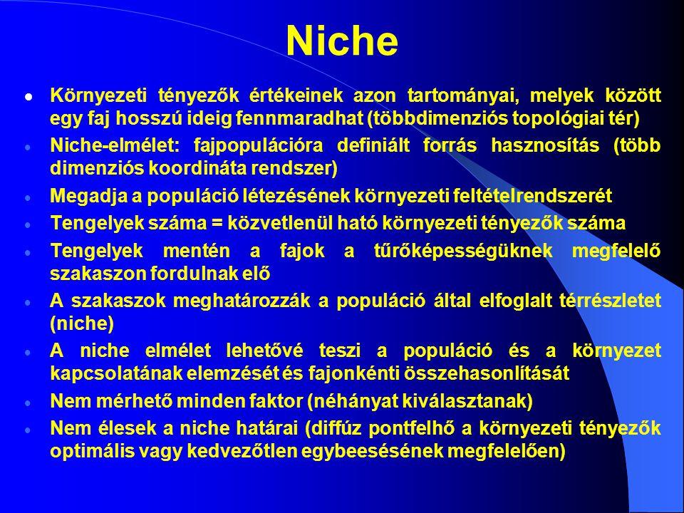 Niche  Környezeti tényezők értékeinek azon tartományai, melyek között egy faj hosszú ideig fennmaradhat (többdimenziós topológiai tér)  Niche-elméle