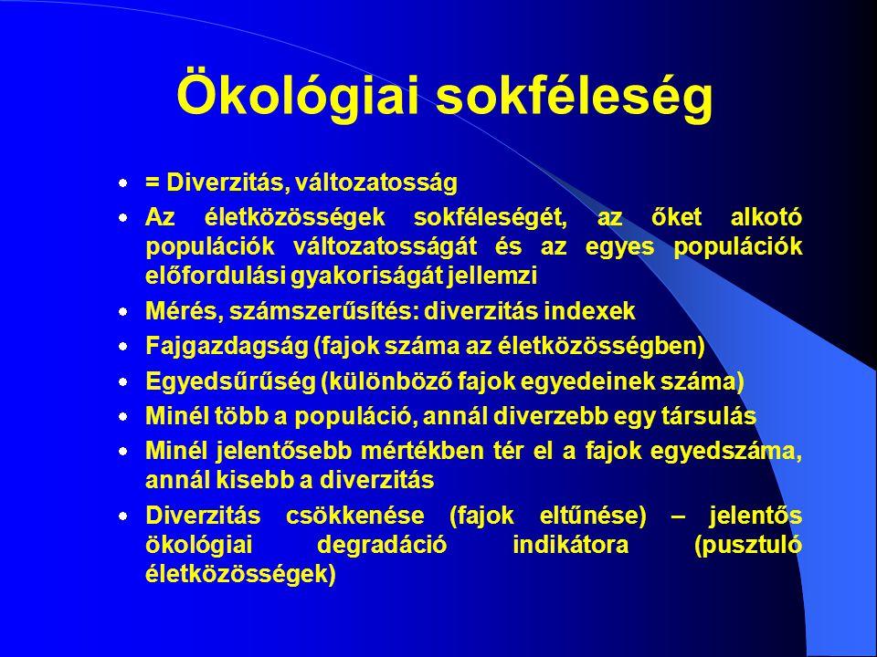Ökológiai sokféleség  = Diverzitás, változatosság  Az életközösségek sokféleségét, az őket alkotó populációk változatosságát és az egyes populációk