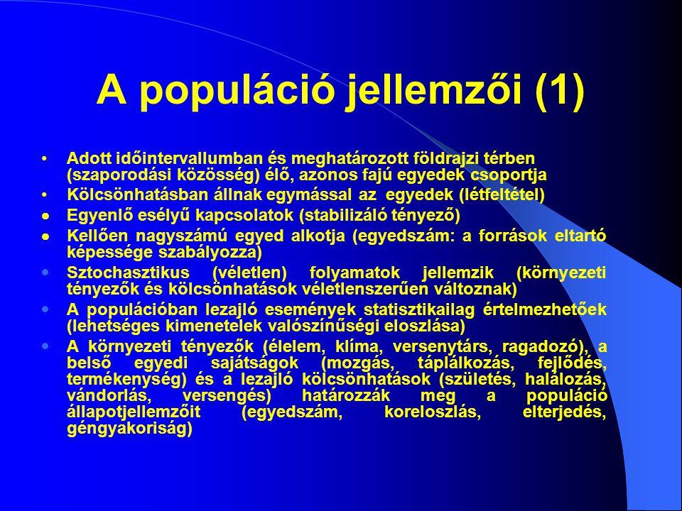 A populáció jellemzői (1) Adott időintervallumban és meghatározott földrajzi térben (szaporodási közösség) élő, azonos fajú egyedek csoportja Kölcsönh