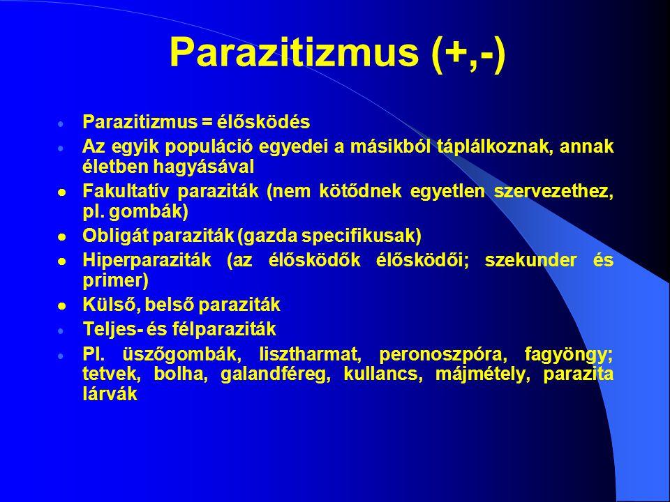 Parazitizmus = élősködés  Az egyik populáció egyedei a másikból táplálkoznak, annak életben hagyásával  Fakultatív paraziták (nem kötődnek egyetle