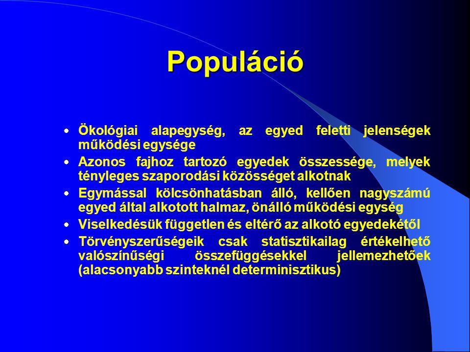 Populáció  Ökológiai alapegység, az egyed feletti jelenségek működési egysége  Azonos fajhoz tartozó egyedek összessége, melyek tényleges szaporodás