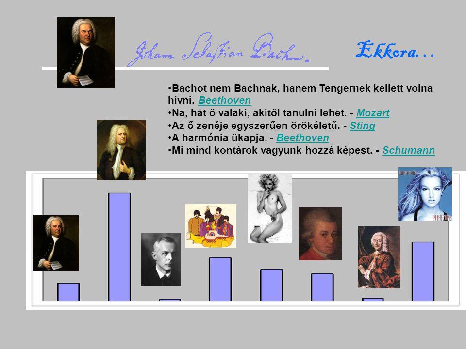 Ekkora… Bachot nem Bachnak, hanem Tengernek kellett volna hívni. BeethovenBeethoven Na, hát ő valaki, akitől tanulni lehet. - MozartMozart Az ő zenéje