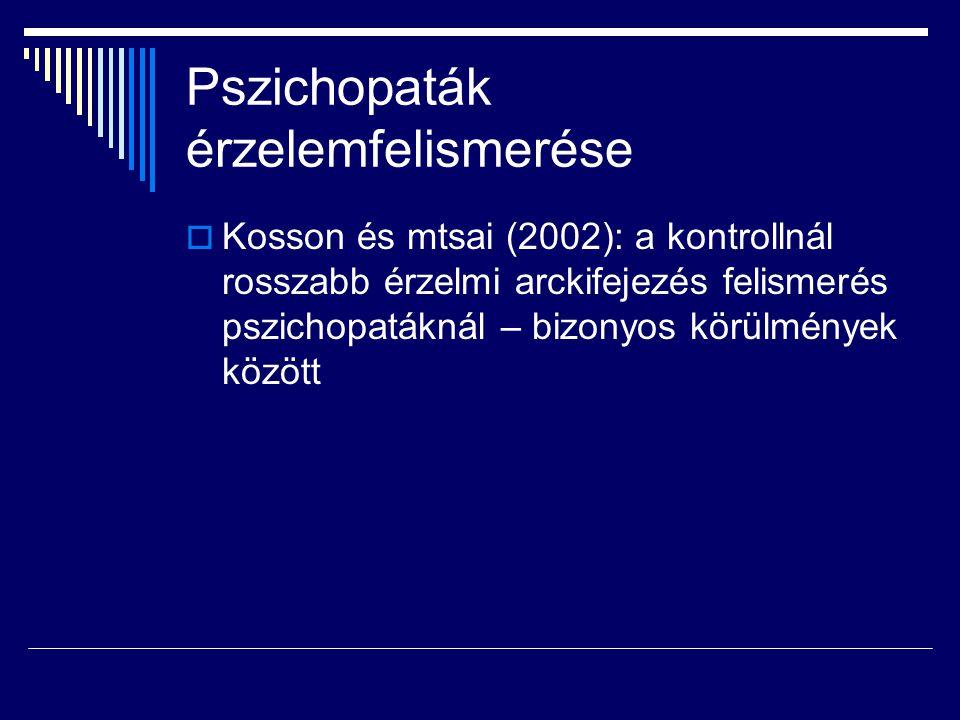 Pszichopaták érzelemfelismerése  Kosson és mtsai (2002): a kontrollnál rosszabb érzelmi arckifejezés felismerés pszichopatáknál – bizonyos körülmények között