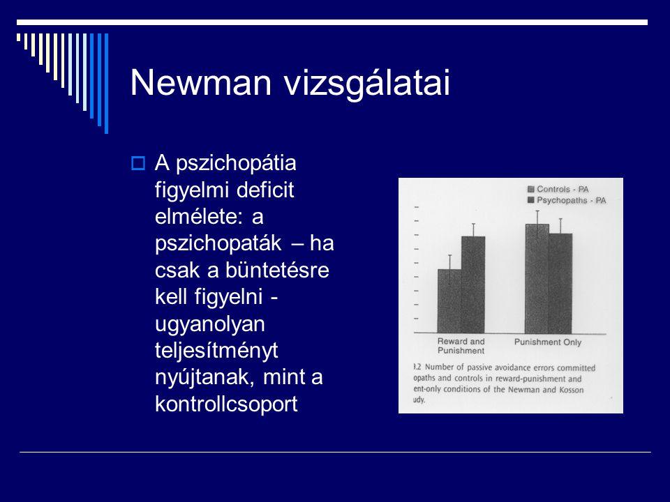 Newman vizsgálatai  A pszichopátia figyelmi deficit elmélete: a pszichopaták – ha csak a büntetésre kell figyelni - ugyanolyan teljesítményt nyújtanak, mint a kontrollcsoport