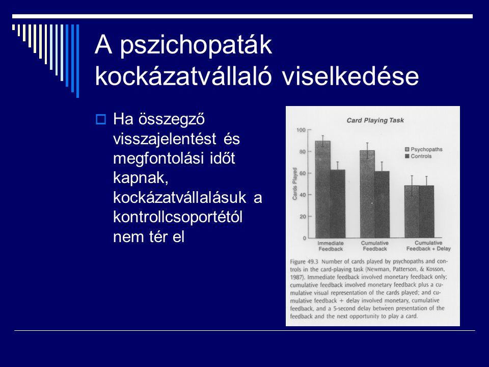 A pszichopaták kockázatvállaló viselkedése  Ha összegző visszajelentést és megfontolási időt kapnak, kockázatvállalásuk a kontrollcsoportétól nem tér el