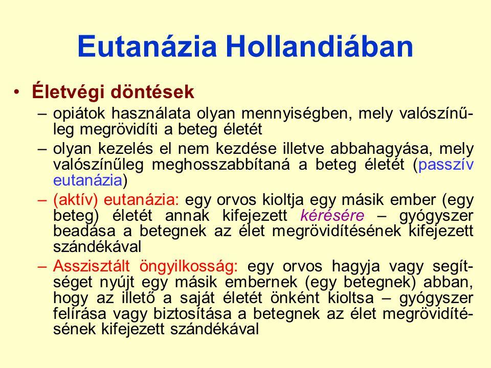 Eutanázia Hollandiában Életvégi döntések –opiátok használata olyan mennyiségben, mely valószínű- leg megrövidíti a beteg életét –olyan kezelés el nem kezdése illetve abbahagyása, mely valószínűleg meghosszabbítaná a beteg életét (passzív eutanázia) –(aktív) eutanázia: egy orvos kioltja egy másik ember (egy beteg) életét annak kifejezett kérésére – gyógyszer beadása a betegnek az élet megrövidítésének kifejezett szándékával –Asszisztált öngyilkosság: egy orvos hagyja vagy segít- séget nyújt egy másik embernek (egy betegnek) abban, hogy az illető a saját életét önként kioltsa – gyógyszer felírása vagy biztosítása a betegnek az élet megrövidíté- sének kifejezett szándékával
