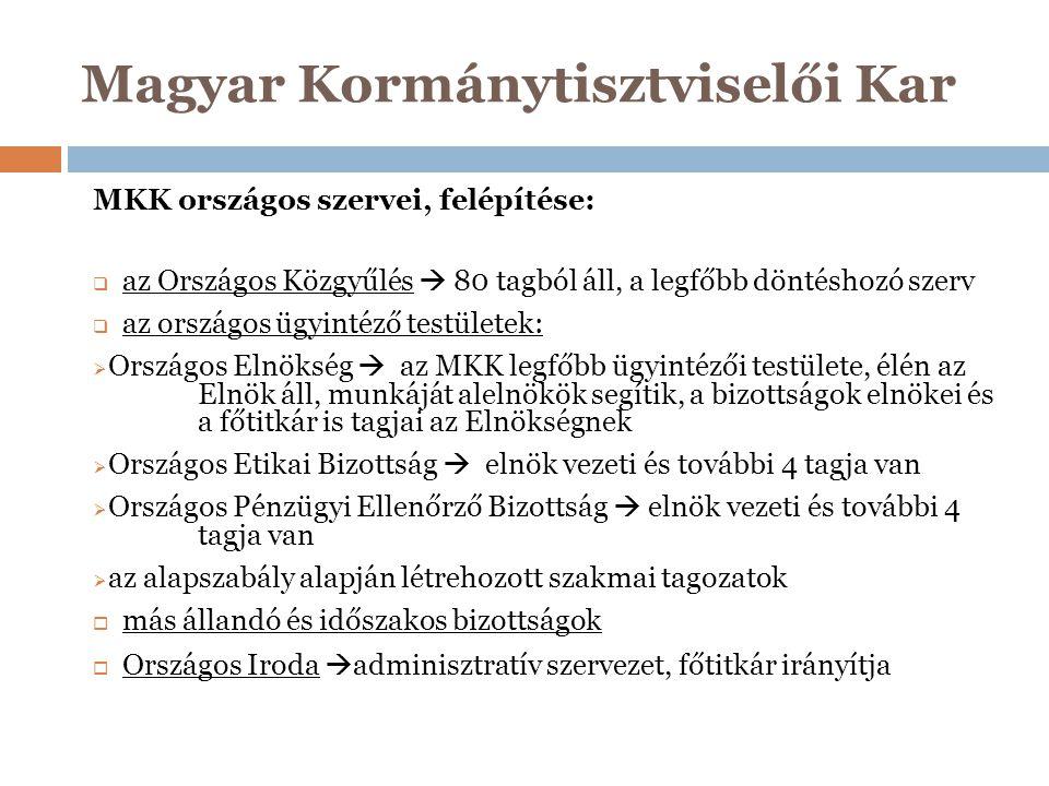 Magyar Kormánytisztviselői Kar MKK országos szervei, felépítése:  az Országos Közgyűlés  80 tagból áll, a legfőbb döntéshozó szerv  az országos ügy