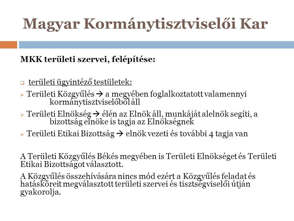 Magyar Kormánytisztviselői Kar MKK területi szervei, felépítése:  területi ügyintéző testületek:  Területi Közgyűlés  a megyében foglalkoztatott va