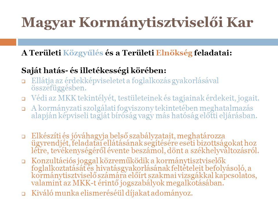 Magyar Kormánytisztviselői Kar A Területi Közgyűlés és a Területi Elnökség feladatai: Saját hatás- és illetékességi körében:  Ellátja az érdekképvise