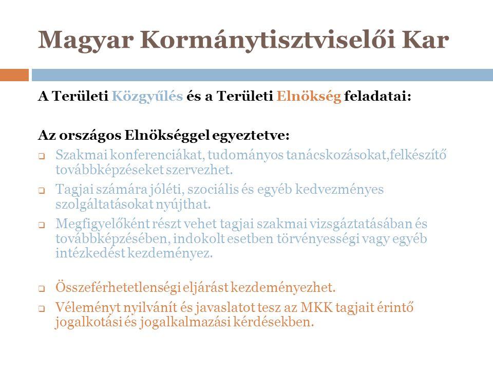 Magyar Kormánytisztviselői Kar A Területi Közgyűlés és a Területi Elnökség feladatai: Az országos Elnökséggel egyeztetve:  Szakmai konferenciákat, tu