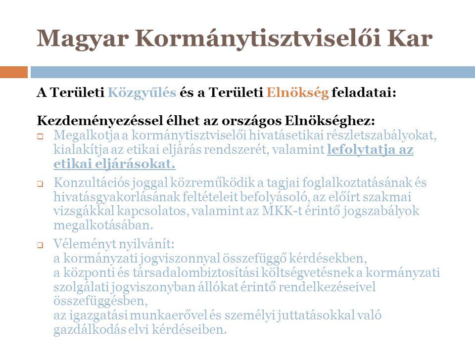 Magyar Kormánytisztviselői Kar A Területi Közgyűlés és a Területi Elnökség feladatai: Kezdeményezéssel élhet az országos Elnökséghez:  Megalkotja a k