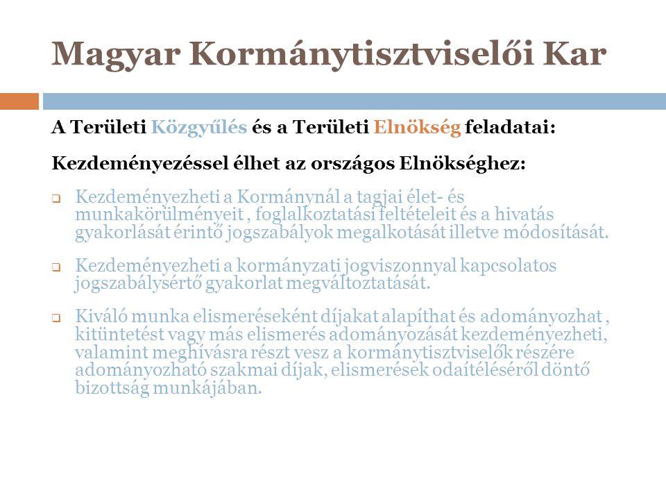 Magyar Kormánytisztviselői Kar A Területi Közgyűlés és a Területi Elnökség feladatai: Kezdeményezéssel élhet az országos Elnökséghez:  Kezdeményezhet