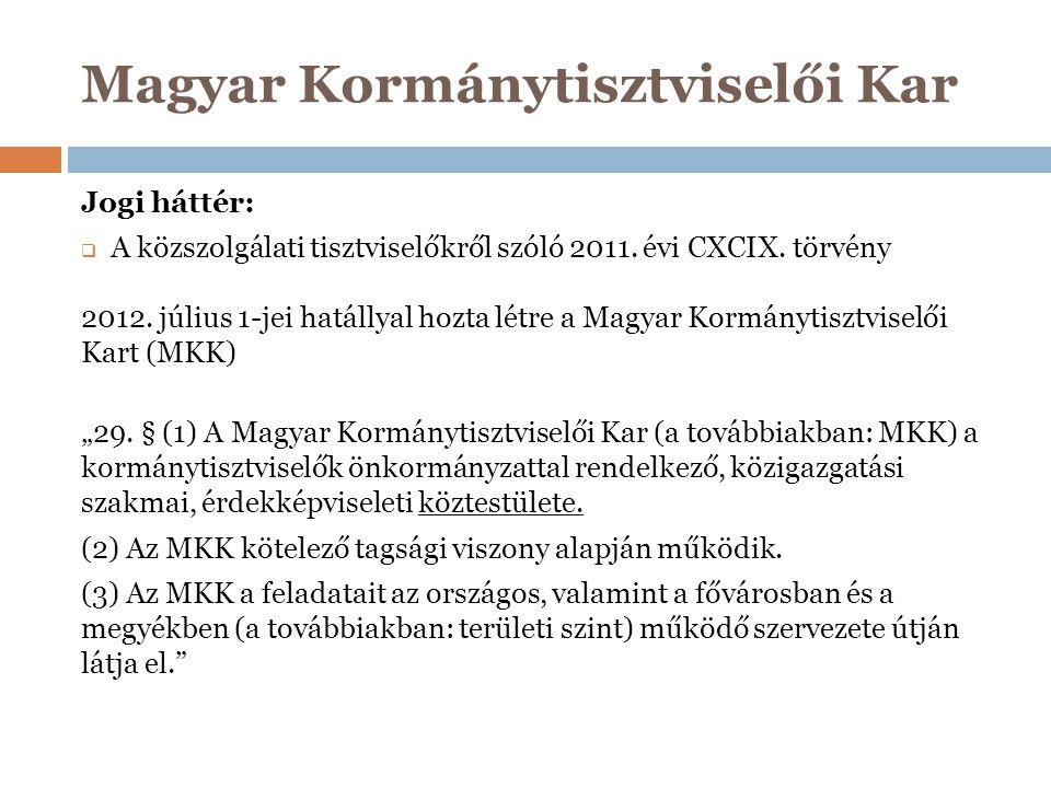 Jogi háttér:  A közszolgálati tisztviselőkről szóló 2011. évi CXCIX. törvény 2012. július 1-jei hatállyal hozta létre a Magyar Kormánytisztviselői Ka