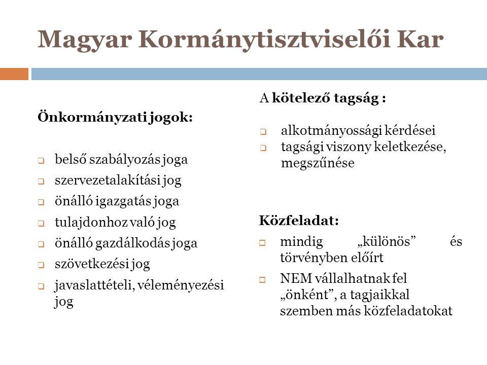 Magyar Kormánytisztviselői Kar Jogalkotói cél:  olyan közös értékalapú egységes hivatásrend létrehozása, amely hozzájárul a közigazgatás működése iránti állampolgári bizalom megerősödéséhez,  jöjjenek létre a feltételek a hivatásrend működtetésének folyamatosságához,  szélesebb konzultációs és részvételi mechanizmuson alapuló szociális/gazdasági/társadalmi egyeztetési rendszer megvalósítása.