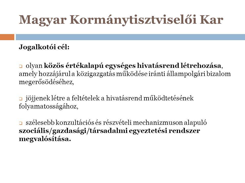 Magyar Kormánytisztviselői Kar Jogalkotói cél:  olyan közös értékalapú egységes hivatásrend létrehozása, amely hozzájárul a közigazgatás működése irá