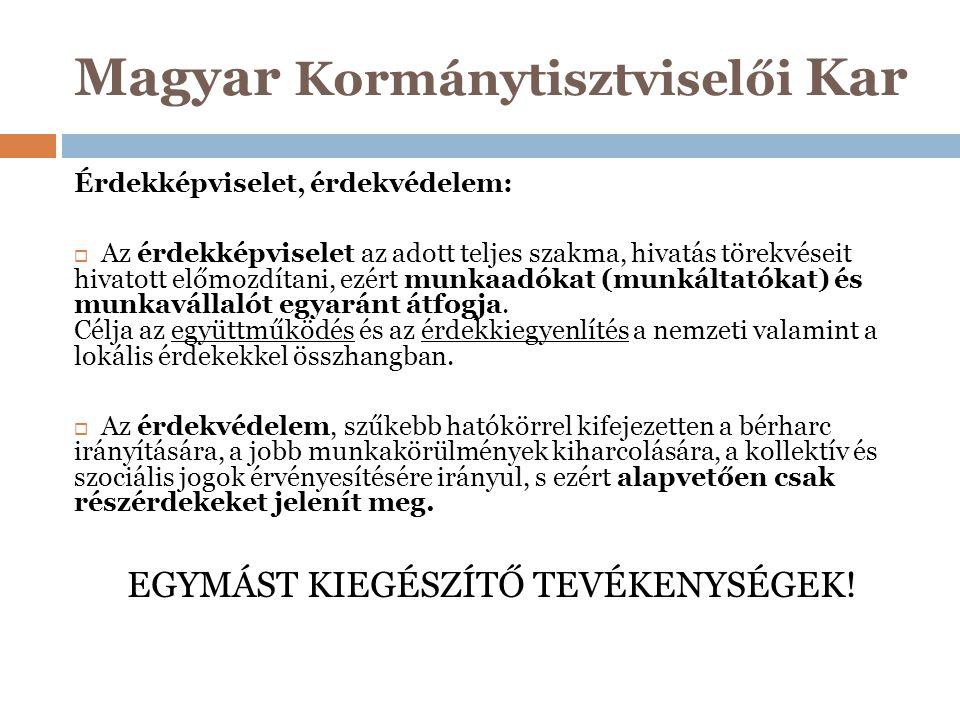 Magyar Kormánytisztviselői Kar Érdekképviselet, érdekvédelem:  Az érdekképviselet az adott teljes szakma, hivatás törekvéseit hivatott előmozdítani,