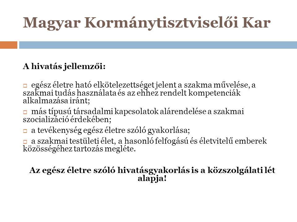 Magyar Kormánytisztviselői Kar A Kar feladatai öt területen összegezhetőek:  érdekképviselet, érdekvédelem és kormánytisztviselői jogvédelem, konzultációs és felterjesztési jog gyakorlása, a kormányzati szolgálati jogviszonnyal-, a Kart érintő jogszabályokkal összefüggő kérdésekben és az igazgatási munkaerővel való gazdálkodás kérdéseiben véleményezési jog gyakorlása, kezdeményezheti a Kormánynál a kormánytisztviselők élet- és munkakörülményeit, valamint foglalkoztatási feltételeit és a hivatás gyakorlását érintő jogszabályok megalkotását és módosítását, meghatalmazás alapján elláthat bíróság és más hatóságok előtt képviseletet;  kialakítja a Kormánytisztviselői Hivatásetikai Kódexet (hivatásetikai részletszabályokat) és eljárási rendszert, lefolytatja az etikai eljárásokat;