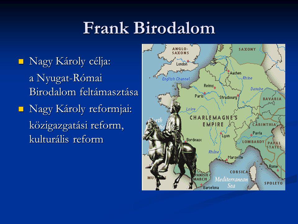 Frank Birodalom Nagy Károly célja: Nagy Károly célja: a Nyugat-Római Birodalom feltámasztása Nagy Károly reformjai: Nagy Károly reformjai: közigazgatá