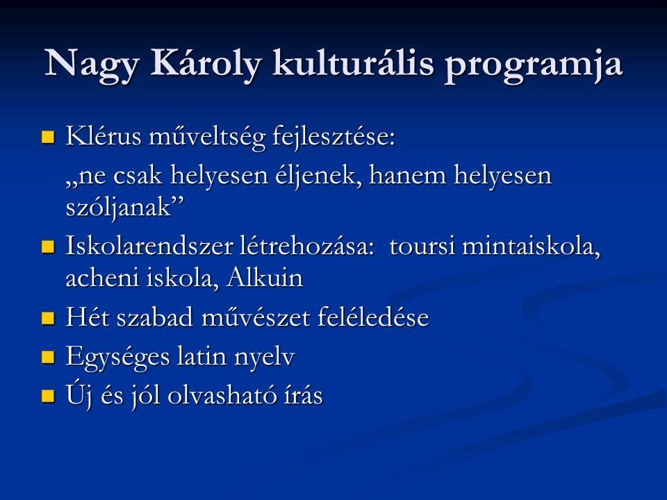 """Nagy Károly kulturális programja Klérus műveltség fejlesztése: Klérus műveltség fejlesztése: """"ne csak helyesen éljenek, hanem helyesen szóljanak"""" Isko"""